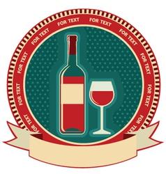 Red wine bottle label symbol background vector image