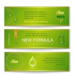 Aloe vera horizontal banners set with drops vector image vector image