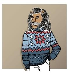 Cartoon lion in Jacquard hat sweaterWinter vector image