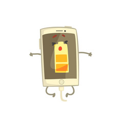 cute smiling smartphone character with battery vector image