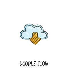 Doodle cloud icon Online store upload and vector image