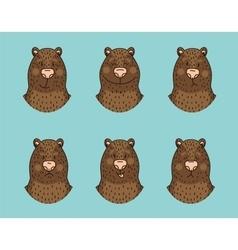 Funny bear emotion icon set vector image vector image