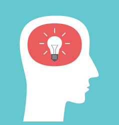 head silhouette with lightbulb vector image vector image