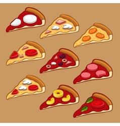 Pizza icon set vector image vector image