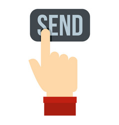 Send button and hand icon isolated vector