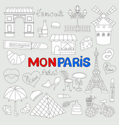 icons set paris cuisine and traditional modern vector image