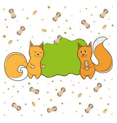 label squirrel nut peanut vector image vector image