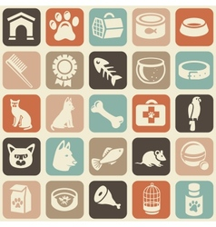 pattern with funny cat and dog icons vector image vector image