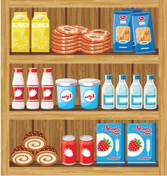 Shelfs with food vector image