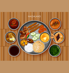 traditional naga cuisine and food meal thali of vector image vector image