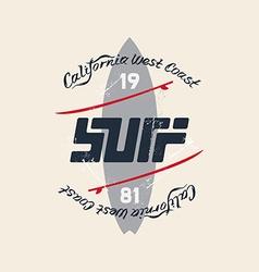 Vintage Surfing Emblem with original lettering vector image vector image