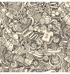 Cartoon cute doodles hand drawn Sport seamless vector image vector image