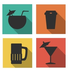 Flat icons for drinks vector image