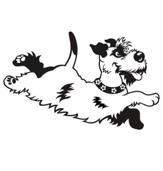 happy dog black white vector image