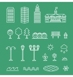 linear landscape icons line style - trees vector image vector image