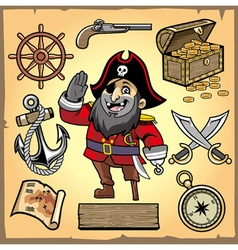 set of pirate cartoon collection vector image vector image