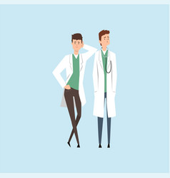 two smiling doctors characters medical staff vector image vector image