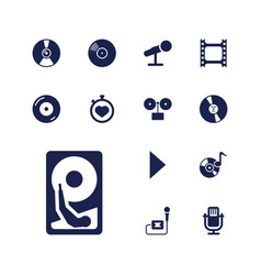13 record icons vector