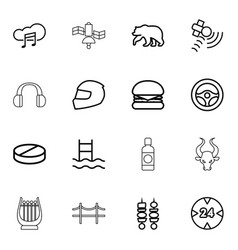 16 outline icons vector image