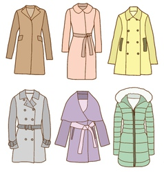 A set of women coats vector image