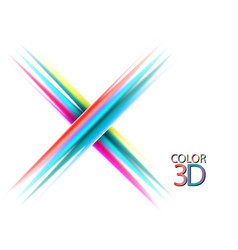 abstract color lines stylish x letter on white vector image
