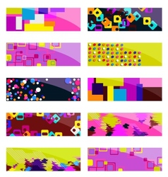 Abstract colorful header set design vector