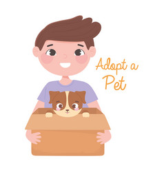 Adopt a pet happy boy with puppy in box vector