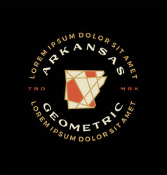 arkansas map geometric badge t shirt tee merch vector image
