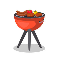 Barbecue grill with food isolated icon vector