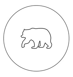 bear icon black color in circle isolated vector image