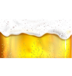 beer with bubbles and foam background vector image