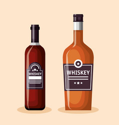 best whiskey set bottles vector image
