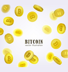 Bitcoin banner frame with falling btc coins vector