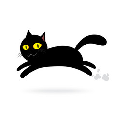 black cat jump isolated background happy vector image
