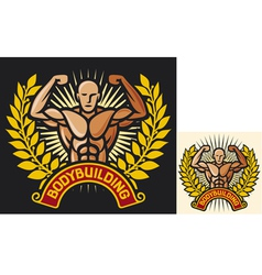 bodybuilding badge vector image