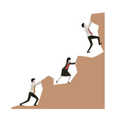 Business people trying to climb to the top of rock vector