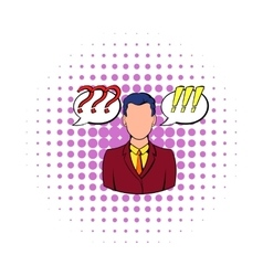 Businessman and clouds with marks icon vector image