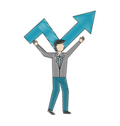 businessman with financial arrow growth success vector image