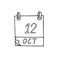 Calendar hand drawn in doodle style october 12 vector