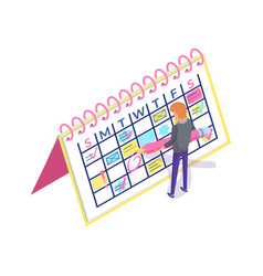 Calendar planner and man creating appointment vector