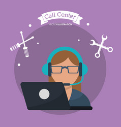 call center woman laptop headset vector image