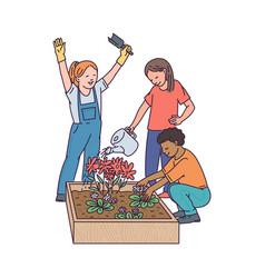 Cartoon children gardening - kids in garden vector