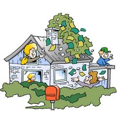 Cartoon of a happy family there has borrowed vector