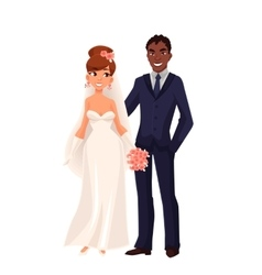 Caucasian bride and African groom just married vector