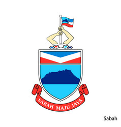 Coat arms sabah is a malaysian region emblem vector