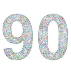 Colorful sketch anniversary design - number 90 vector