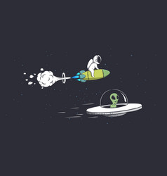 Competitions alien and astronaut vector