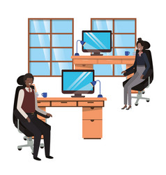 Couple business in work office avatar vector