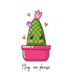 cute cartoon kawaii cactus with smile face in pot vector image