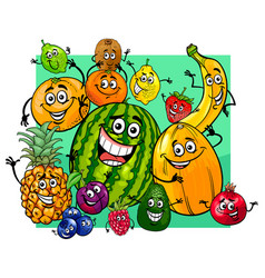 Cute fruit characters group cartoon vector